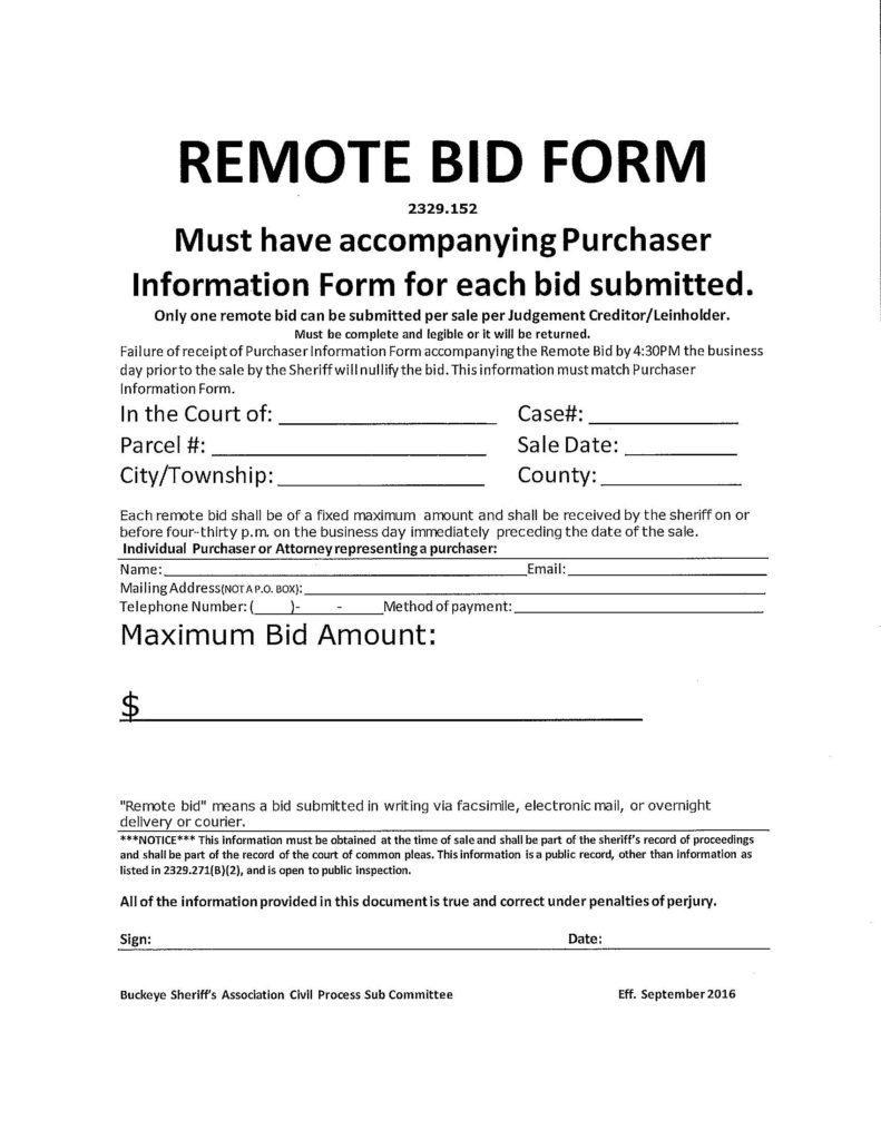property sale forms