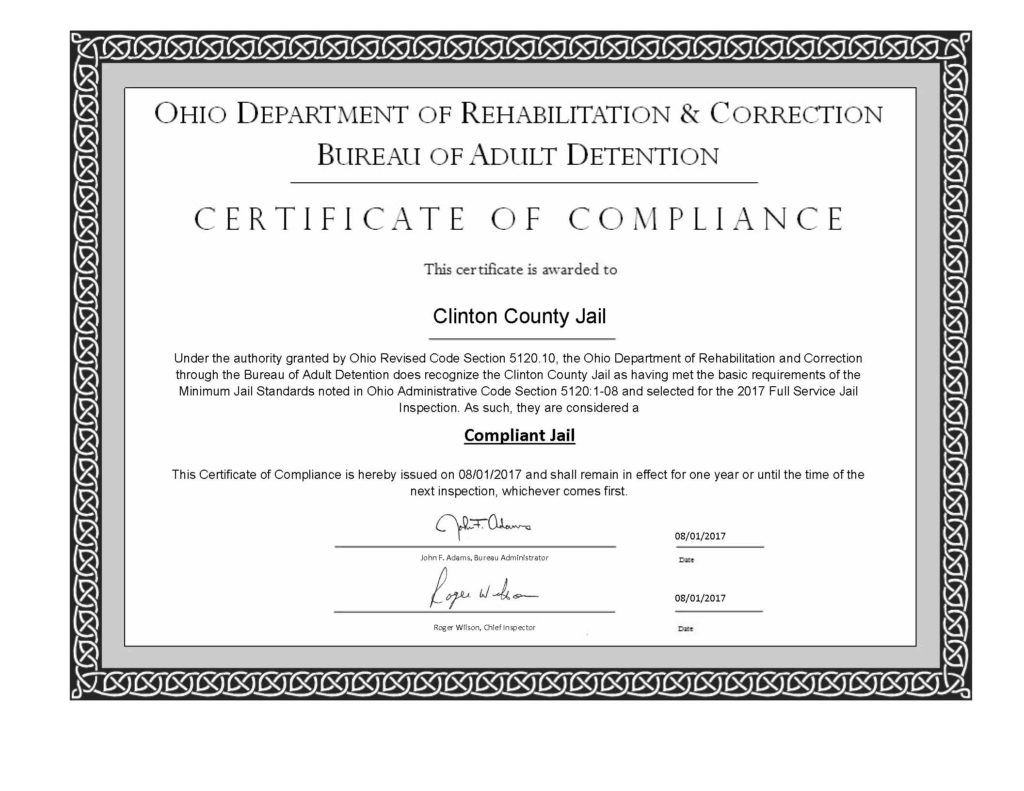 Jail receives certificate of compliance for 2017 clinton county this certificate is awarded for having met the basic requirements of the minimum standards noted in the ohio administrative code section 51201 08 and thecheapjerseys Image collections